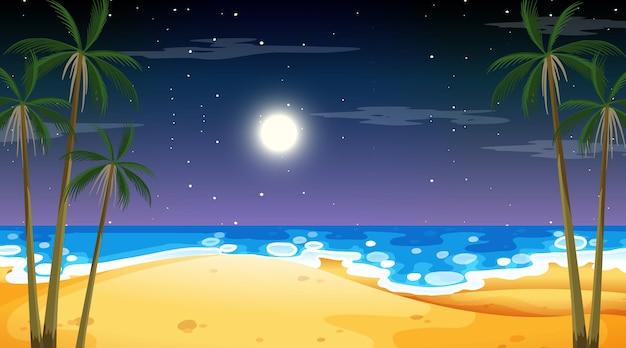 Пляж в ночное время пейзажная сцена с пальмой
