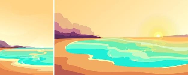 日没時のビーチ。縦横の美しい海景。