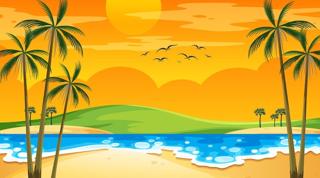 Пляж во время заката пейзажная сцена с пальмами