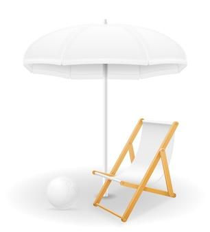 비치 속성 우산과 갑판 의자