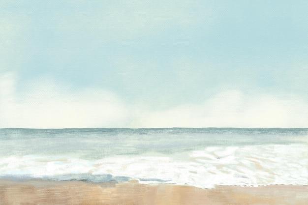 ビーチの背景色鉛筆イラスト