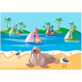 かすみビーチ背景デザイン