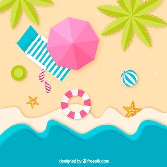 종이 질감 위에서 해변 배경