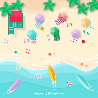 Beach background from the top with umbrellas