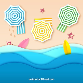 Beach background from the top in paper texture