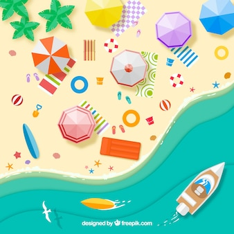 Sfondo spiaggia dall'alto con ombrelloni