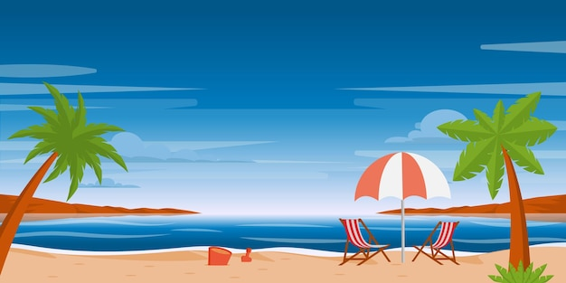 A beach background having trees and an umbrella