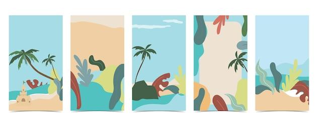 Beach background for social media with sky,sand,sun