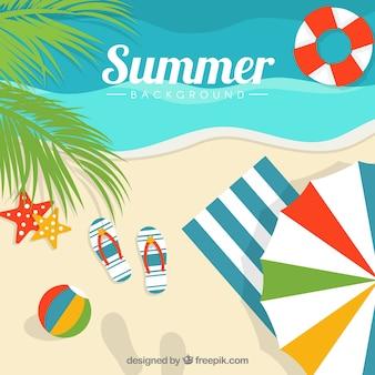 Пляж фон с декоративными элементами лета