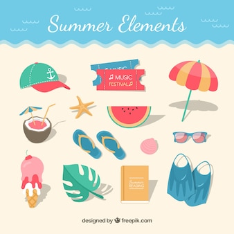 Beach background with flat elements in top view
