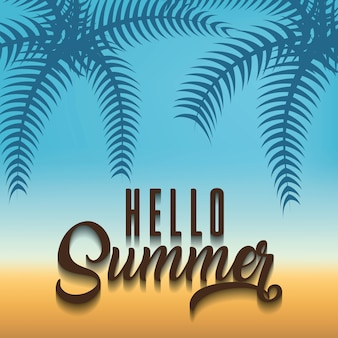 Beach background with hello summer phrase