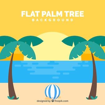 フラットデザインのヤシの木を持つビーチの背景