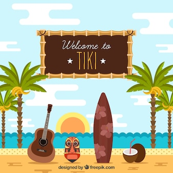 Beach background with palm trees and tiki mask