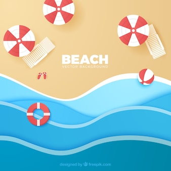 Beach background with top view