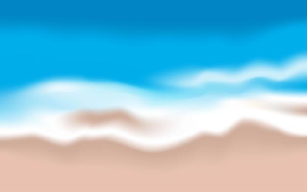 파도와 모래 해변 배경 프리미엄 벡터