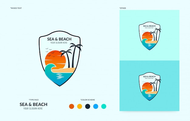 Beach badge with flowing wave