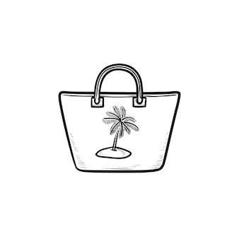 비치 가방 손으로 그린 개요 낙서 아이콘입니다. 해변 액세서리, handbad 및 여름 휴가, 패션 개념. 인쇄, 웹, 모바일 및 흰색 배경에 인포 그래픽에 대한 벡터 스케치 그림.