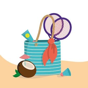 さまざまなビーチアイテムが入った砂浜のビーチバッグ。