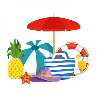 Beach bag with balloon and summer icons