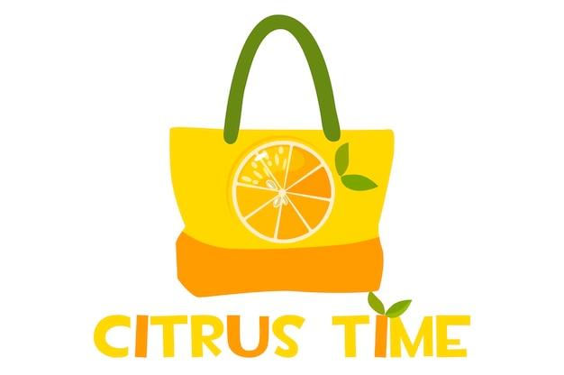 柑橘系のプリントと碑文が入ったビーチバッグ。碑文の柑橘類の時間。