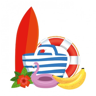 Beach bag with surfboard and summer icons