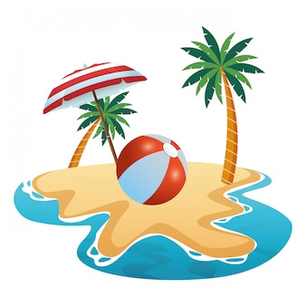 Beach ball under summer umbrella