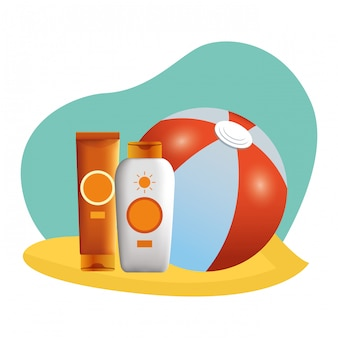 Beach ball and sun bronzer bottles