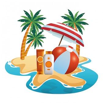 Beach ball and sun bronzers under umbrella
