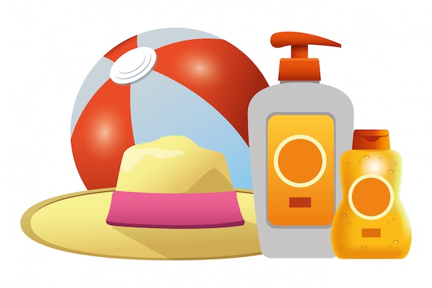 Beach ball and sun bronzers with summer hat