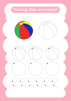 Beach ball - trace lines writting and drawing practice worksheet for kids