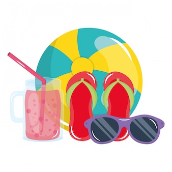 Beach balloon with flip flops and sunglasses