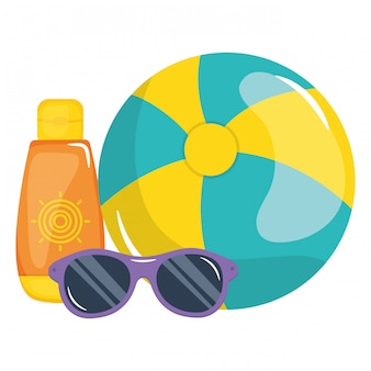 Beach balloon with solar blocker and sunglasses