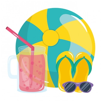 Beach balloon with sunglasses and juice fruit