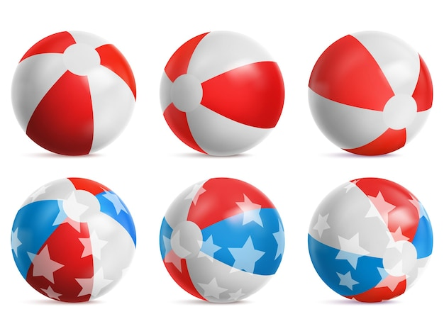 Пляжные мячи, надувные игрушки для летних игр белого, красного и синего цветов с рисунком звездочек.