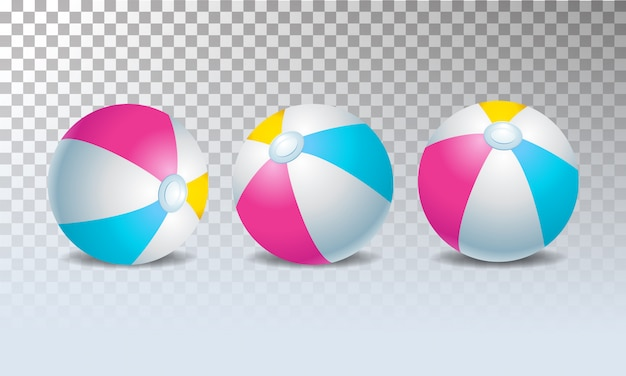 Пляжные мячи с различными изолированными позициями на прозрачном фоне
