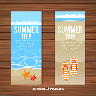Beach banners with flip flops and starfish