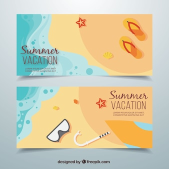 Beach banners with summer objects in flat design