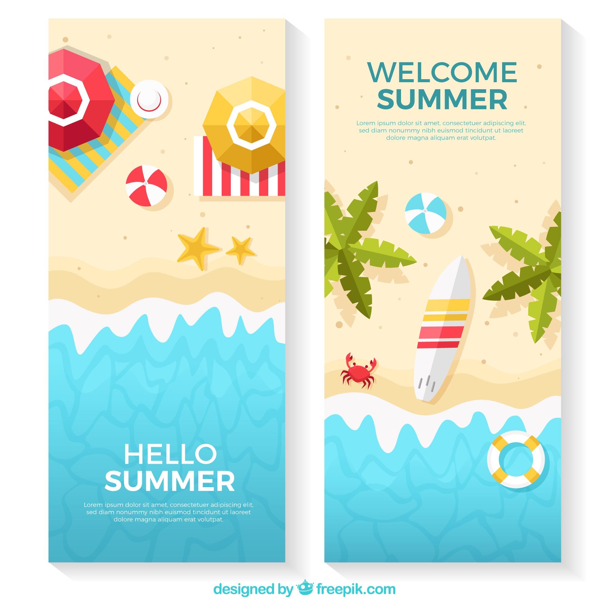 Beach banners with variety of flat items