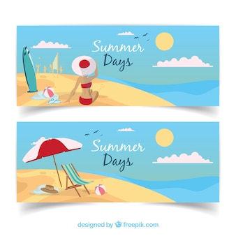 Beach banners with woman and summer elements