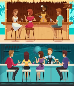 Beach bar and evening bar cartoon horizontal banners
