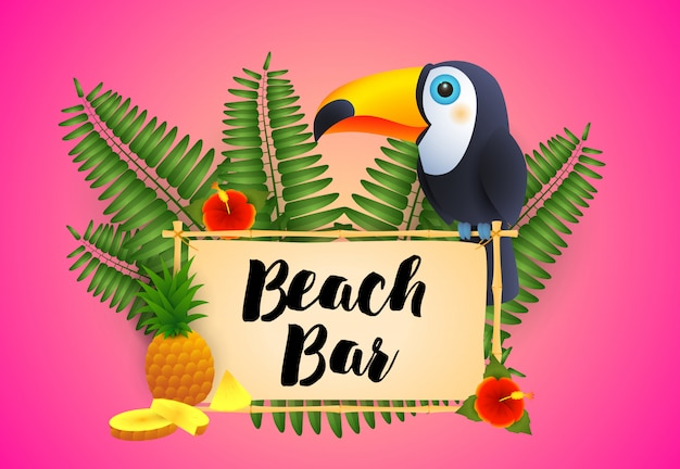 Beach bar lettering with toucan and pineapple