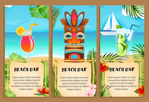 Набор надписей beach bar, коктейли и племенная маска