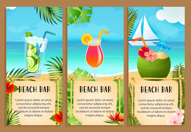 Beach bar letterings set with sea and exotic cocktails