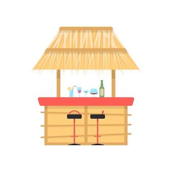 Бар на пляже на белом фоне. концепция берега моря, сезон, бармен, пейзаж, солнце, турист, текила, алкоголь, сок, досуг курортный салон плоский стиль тенденции современного дизайна векторные иллюстрации