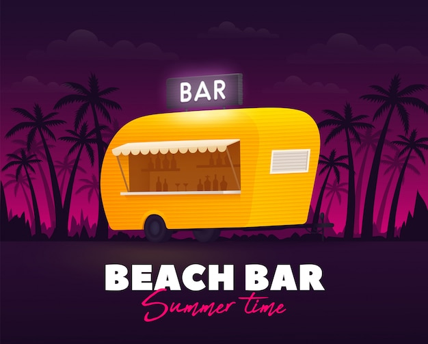 Beach bar, summer time. bar trailer outdoor. beach truck. yellow truck.