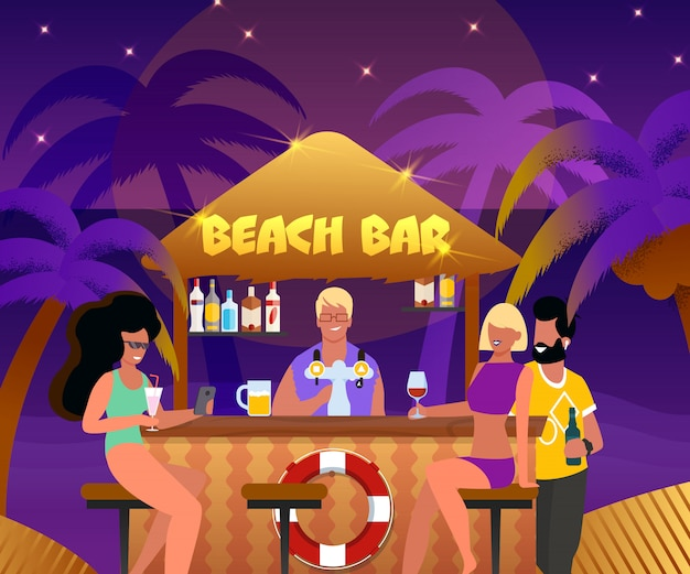Beach bar with bartender and cartoon people drink cocktails