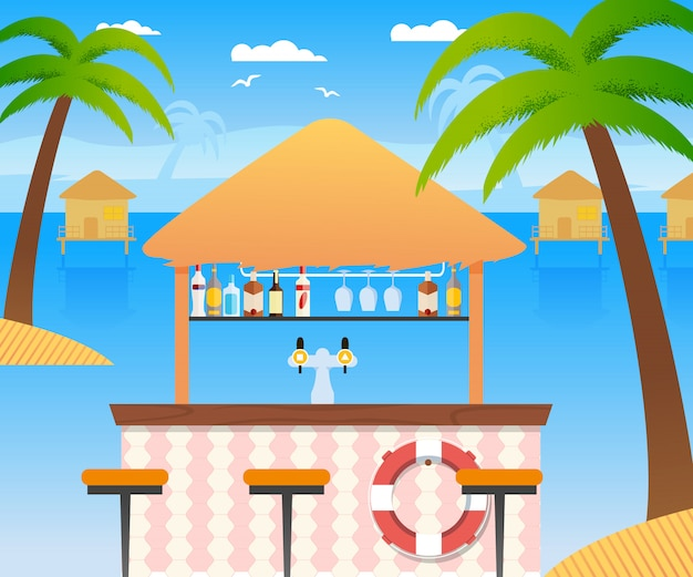 Beach bar with selling cold alcohol drinks and water. wooden summer restaurant with flotation ring panoramic tropical seascape with water houses. palms coconut trees, chairs. vector flat illustration