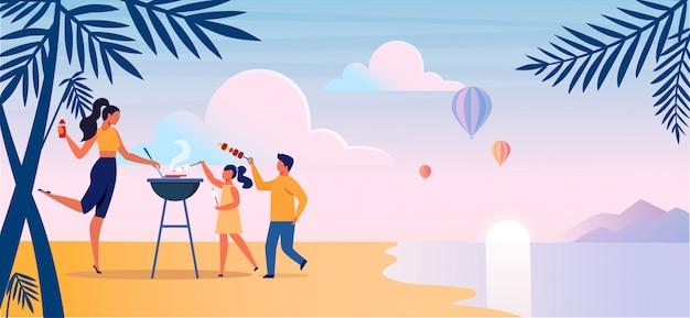 Beach barbeque, picnic flat vector illustration.