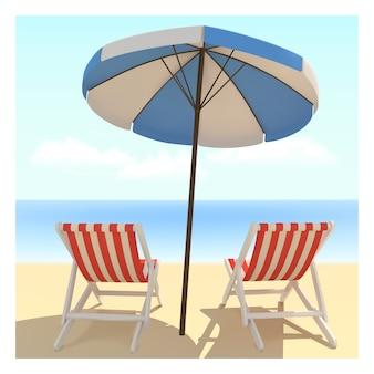 Пляжная кровать и зонтик с окружающей средой