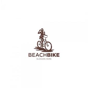 Beach bike female silhouette illustrations